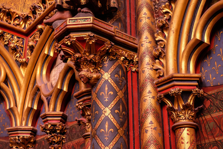 Paris, France - November, 2017:  - Interiors of the Sainte-Chapelle (Holy Chapel). The Sainte-Chapelle is a royal medieval Gothic chapel in Paris and one of the most famous monuments of the city