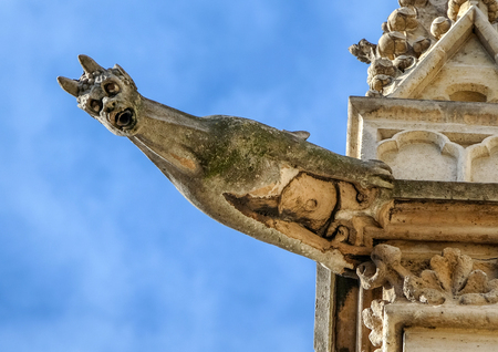 Paris - The gargoyles on the south side wall of the Saint Chapelle Stock Photo