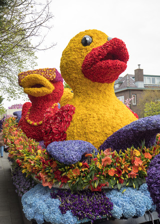 Noordwijkerhout, Netherlands - April 21,  2017: Duck made of colorful flowers at the traditional flowers parade Bloemencorso from Noordwijk to Haarlem in the Netherlands