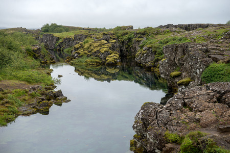 The Silfra fissure,  ingvellir, where the European and American Plates meet. Thingvellir National Park near Reykjavik, Iceland