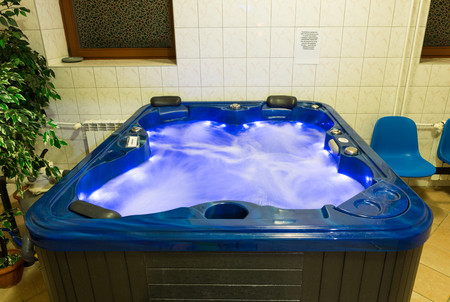 WISLA, POLAND - OCTOBER 23, 2105: Hydromassage  bathtub for color therapy at  the rehabilitation center for the disabled in Wisla. Poland