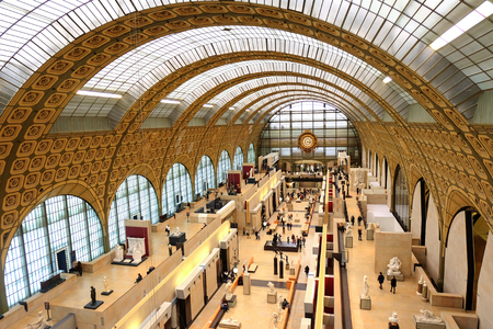 Paris, France - November 2017:  the museum D'Orsay in Paris, France. Musee d'Orsay has the largest collection of impressionist and post-impressionist paintings in the world.
