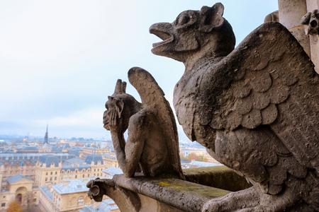 Chimeras (waterspuwers) van de kathedraal van Notre Dame de Paris met uitzicht op Parijs, Frankrijk Stockfoto