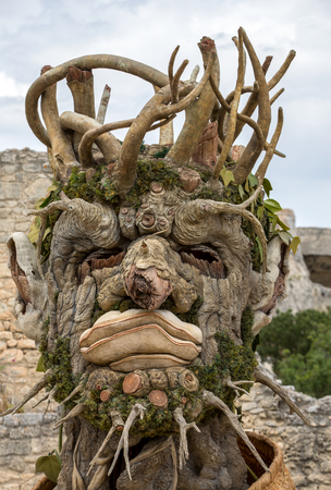 Les Baux, France - June 26, 2017: The artwork, titled  Winter is Four Seasons three-dimensional interpretations created by Philip Haas and inspired by a set of paintings with the same titles by Italian Renaissance artist Giuseppe Arcimbaldo. Each season i Editorial