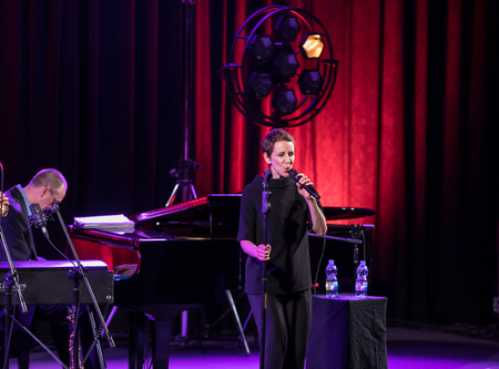 Cracow, Poland - April 26, 2018: The performance of the American jazz vocalist Stacey Kent with her accompanying quartet on the Kijow. Centre stage in Krakow, Poland. It is a concert in the cycle - Th