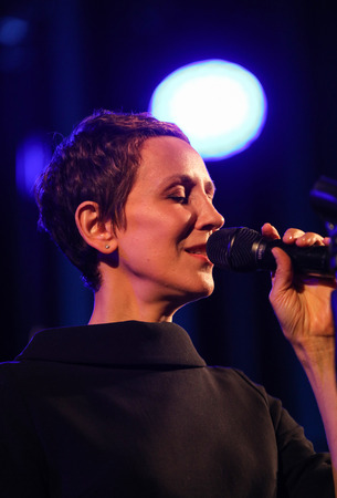 Cracow, Poland - April 26, 2018 : The performance of the American jazz vocalist Stacey Kent with her accompanying quartet on the Kijow. Centre stage in Krakow, Poland. It is a concert in the cycle - The World of Great Music organized by the Cracovia Music Editorial