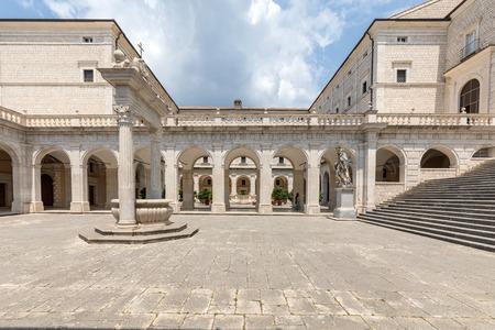 Montecassino, Italy - June 17, 2017: Cistern in the Cloister of Bramante, Benedictine abbey of Montecassino. Italy
