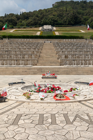 Montecassino, Italy - June 17, 2017: Polish War Cemetery at Monte Cassino - a necropolis of Polish soldiers who died in the battle of Monte Cassino from 11 to 19 May 1944. Italy