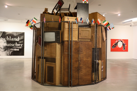 Cracow, Poland - May 8, 2018: Exibition Motherland in Art at Mocak in Krakow. Art installation by Jaroslaw Kozlowski - A United World,  the Totalitarian Version Editorial