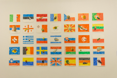 Cracow, Poland - May 8, 2018: Exibition Motherland in Art at Mocak in Krakow. Nikita Alexeev - Where I have been. The artist allocated to each country composition that consists of a flag and a drawing of friut or vegetable with a caption in the give langu Редакционное