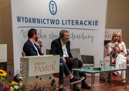 Cracow, Poland - May 21, 2018: Meeting with the Turkish writer, Nobel Prize laureate Orhan Pamuk in Krakow on the occasion of the 65th anniversary of the Literary Publishers. Poland Éditoriale