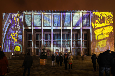 Cracow, Poland - February 3, 2018: Mapping on the facade of the National Museum inspired by the painting of Stanislaw Wyspianski. Krakow, Poland Éditoriale