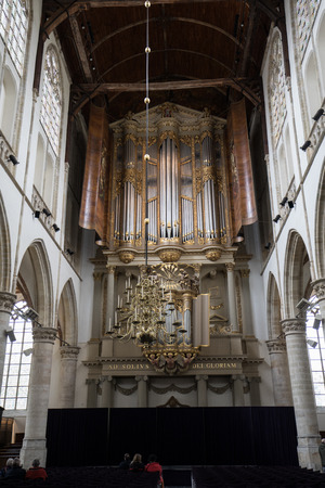 ALKMAAR,  NETHERLANDS - APRIL 21, 2017: The two organs inside the Church of St. Lawrence (Grote Kerk or Great Church) in Alkmaar, Netherlands.