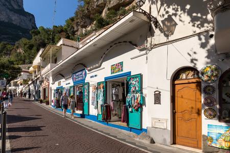Positano, Italy - June 12, 2017: Shops on Via Cristoforo Colombo in Positano, Amalfi Coast, Italy