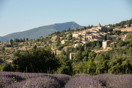 a lavender field with the village of Aurel beyond, the Vaucluse, Provence, France Standard-Bild