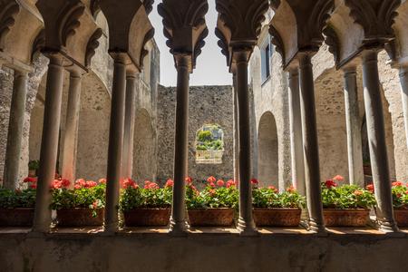 Ravello, Italy - June 16, 2017:  View of gothic cloister columns of Villa Rufolo in Ravello, Amalfi Coast, Campania, Italy