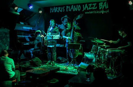 Cracow, Poland - June 24, 2018: Kuba Pluzek Quartet performs live at the Summer Jazz Festival in Krakow, is the 23rd edition of the festival, which will host over 150 concerts and will perform over 500 jazz musicians