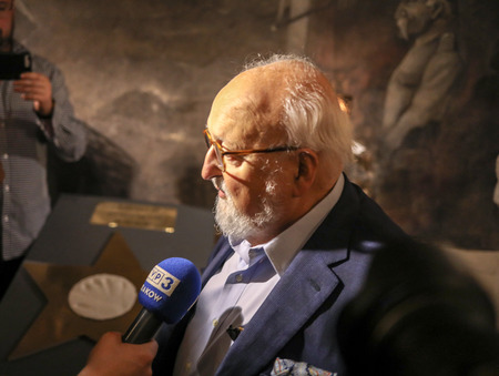 Cracow, Poland - June 26, 2018: The Polish composer Krzysztof Penderecki during the ceremony of putting a handprint on a memorial plaque at the legendary  Piwnica pod Baranami in Krakow. Poland Editorial
