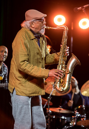 Cracow, Poland - June 28, 2018: Charles Lloyd & The Marvels and Bill Frisell live on stage of Kijow.Centre at the Summer Jazz Festival in Krakow. Poland Editorial