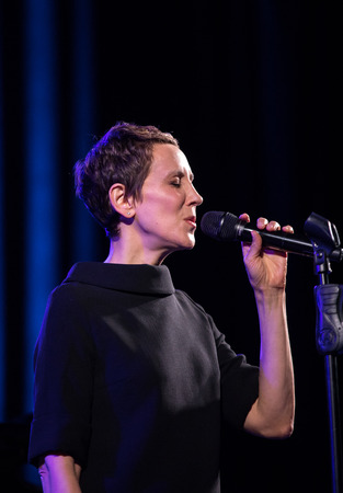 Cracow, Poland - April 26, 2018: The performance of the American jazz vocalist Stacey Kent with her accompanying quartet on the Kijow.Centre stage in Krakow, Poland. It is a concert in the cycle - The World of Great Music organized by the Cracovia Music A Editorial