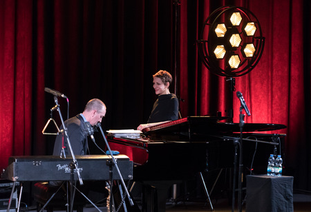 Cracow, Poland - April 26, 2018: The performance of the American jazz vocalist Stacey Kent with her accompanying quartet on the Kijow.Centre stage in Krakow, Poland. It is a concert in the cycle - The