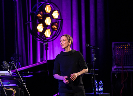 Cracow, Poland - April 26, 2018: The performance of the American jazz vocalist Stacey Kent with her accompanying quartet on the Kijów.Centre stage in Krakow, Poland. It is a concert in the cycle -