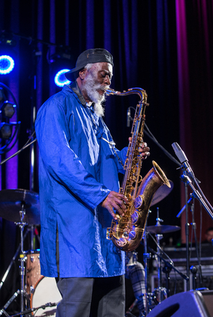 Cracow, Poland - July 12, 2018: Icon of world jazz - Pharoah Sanders the Icon Quartetet live on stage of Kijow.Centre at the Summer Jazz Festival in Krakow. Poland