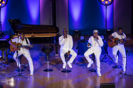 Cracow, Poland - July 8, 2018: Take 6 live on stage of Auditorium Maximum UJ at the Summer Jazz Festival in Krakow. Poland