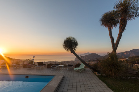 Swimming pool on the Amalfi Coast with views of the Gulf of Naples and Vesuvius. Sorrento. Italy Editorial