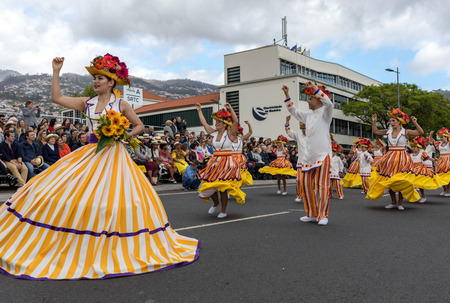 Funchal; Madeira; Portugal - April 22; 2018: Annual parade of the Madeira Flower Festival in the city of Funchal on the Island of Madeira. Portugal.
