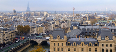 Panoramic view of the city of Paris as seen from Notre Dame cathedral