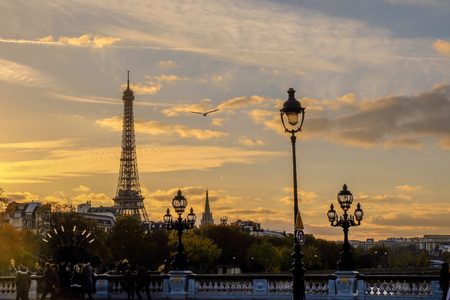 Paris, France - November 2017: Street lamp silhouette contrasting with the Eiffel Tower at sunset. Paris, France