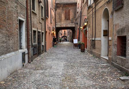Ferrara, Italy - June 10, 2017: Via delle Volte of Ferrara in the medieval quarter. Emilia-Romagna. Italy. Via delle Volte of Ferrara in the medieval quarter. Emilia-Romagna. Italy. Editorial