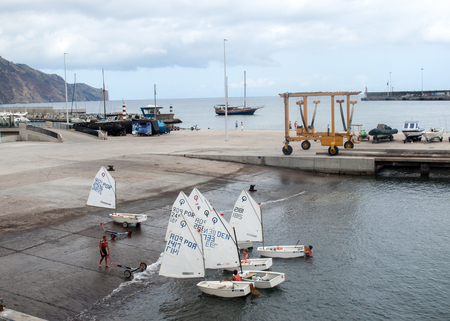 Funchal, Madeira, Portugal - September 3, 2016: Sailing lessons for children in Funchal on the Madeira Island. Portugal