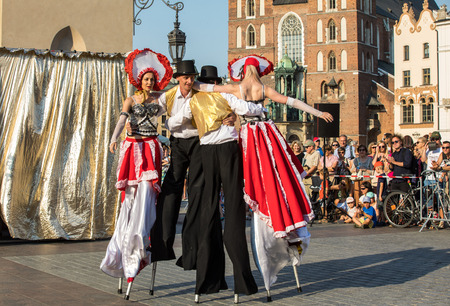 Cracow, Poland - July 5, 2018: Performance of Dance Pageant performed byThe Kiev street Theatre Highlights at 31th Street - International Festival of Street Theatres in Cracow, Poland.