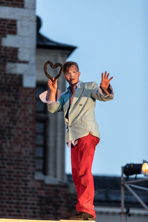 Cracow, Poland - July 7, 2018: Performance of Foam days performed by The Enigineering Theatre AKHE at 31th Street - International Festival of Street Theatres in Cracow, Poland. Sajtókép