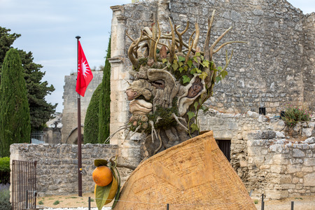 Les Baux, France - June 26, 2017: The artwork, titled  Winter is Four Seasons three-dimensional interpretations created by Philip Haas