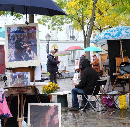 Paris, France - November 2017: Paris -  Open Air Artist Market at Tertre Square (Place du Tertre) in Montmartre