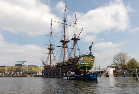 AMSTERDAM, NETHERLANDS - APRIL 20, 2017: Replica of the Dutch East India Company ship 'the Amsterdam', moored by the National Maritime museum in Amsterdam, Netherlands