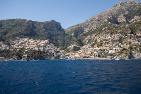 Positano seen from the sea on Amalfi Coast in the region Campania, Italy Imagens