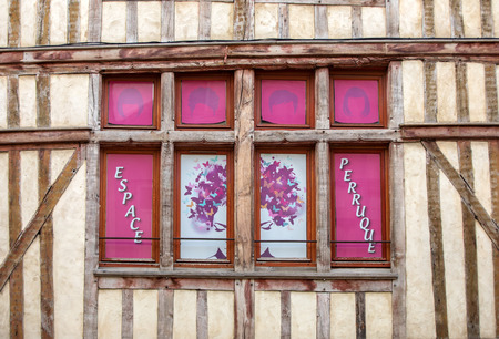 Troyes, France - August 31, 2018: View of old town in Troyes - capital of Aube department in Champagne region. France. Many half-timbered houses (mainly of 16th century) survive in old town 스톡 콘텐츠