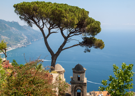 View over Gulf of Salerno from Villa Rufolo, Ravello, Campania, Italy Фото со стока