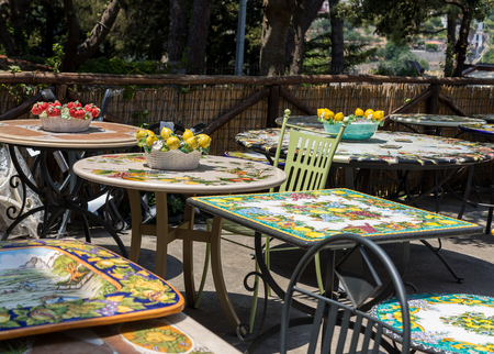 Ravello, Italy - June 16, 2017: Artistic ceramic products for sale in Ravello. A small charming town on the Amalfi Coast is known for its hand-painted artistic cermic. Campania. Italy