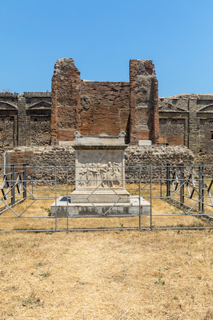 Ancient city of Pompeii, Italy. Roman town destroyed by Vesuvius volcano. Editorial