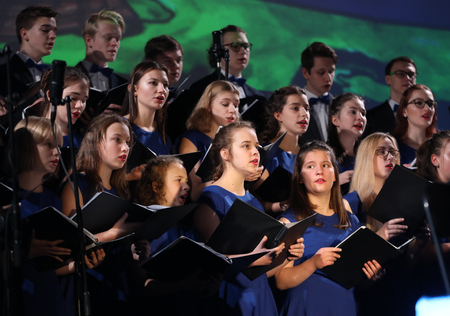 Cracow, Poland - December 7, 2018:  the Multimedia Christmas Oratory - to Bethlehem performed by the Filharmonia Futura and Choir Fermata. Cracow. Poland Редакционное