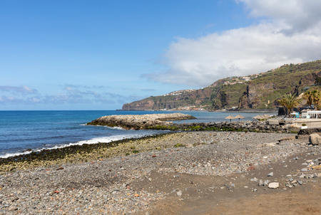 Ribeira Brava, Madeira, Portugal - April 18, 2018: Vew of the coastline in Ribeira Brava on Madeira Island. Portugal
