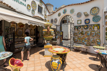 Ravello, Italy - June 16, 2017: Ceramics shop in the main square of Ravello, Campania, Italy