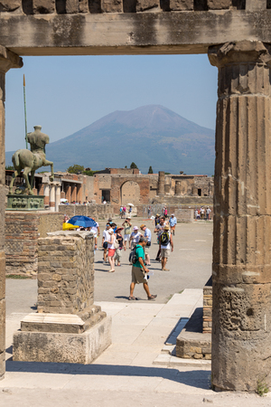 Pompeii, Italy - June 15, 2017: Ancient city of Pompeii, Italy. Roman town destroyed by Vesuvius volcano. Editorial