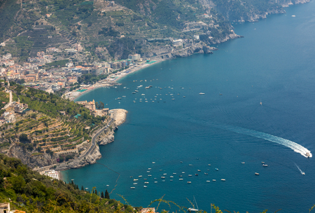 View over Gulf of Salerno from Ravello, Campania, Italy Stok Fotoğraf