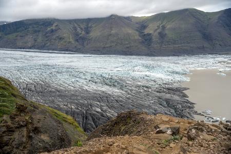 Svinafellsjokull glacier, part of Vatnajokull glacier. Skaftafel National Park on Iceland Stok Fotoğraf